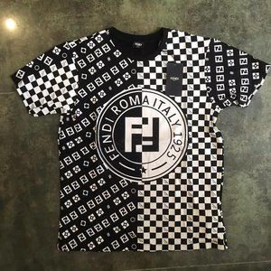 FENDI MEN SHORT SLEEVE T-SHIRT DRAFT PRINT